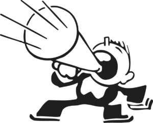 cartoon of guy screaming into megaphone